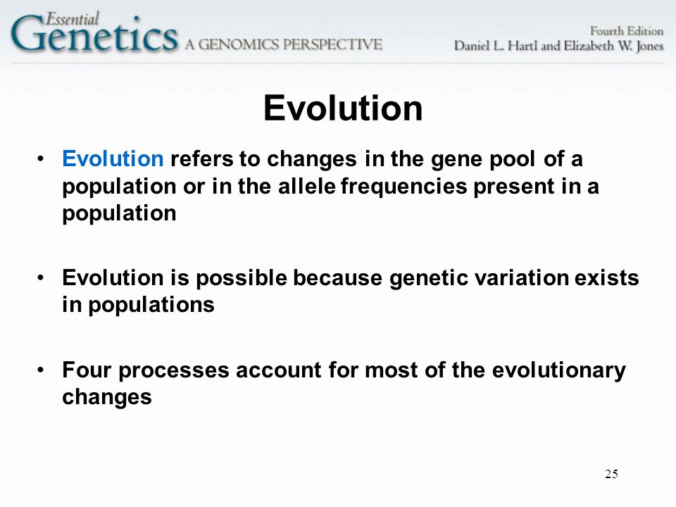 Evolution Evolution refers to changes in the gene pool of a population or in the allele frequencies present in a population.