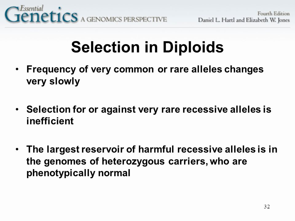 Selection in Diploids Frequency of very common or rare alleles changes very slowly.