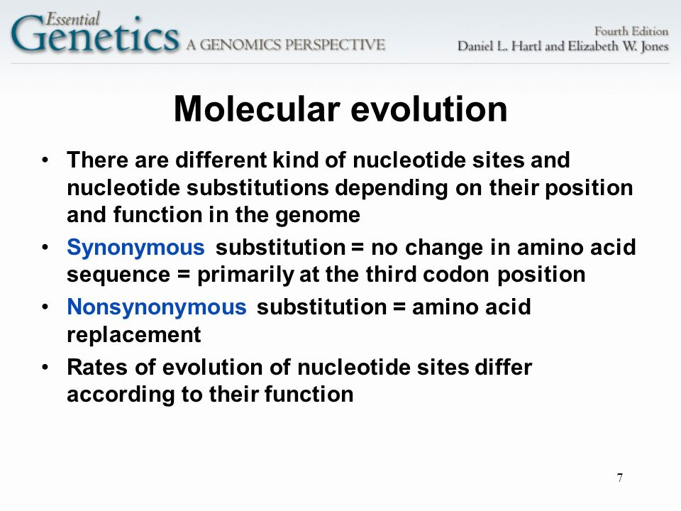 Molecular evolution There are different kind of nucleotide sites and nucleotide substitutions depending on their position and function in the genome.