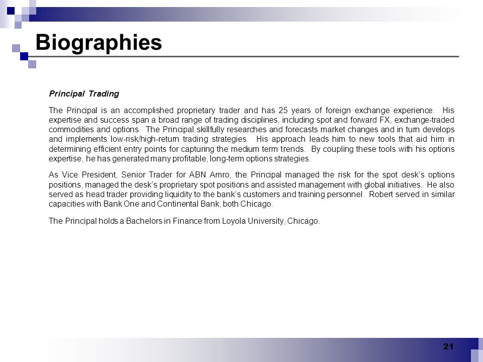 Biographies Principal Trading