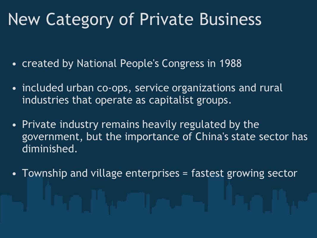 New Category of Private Business