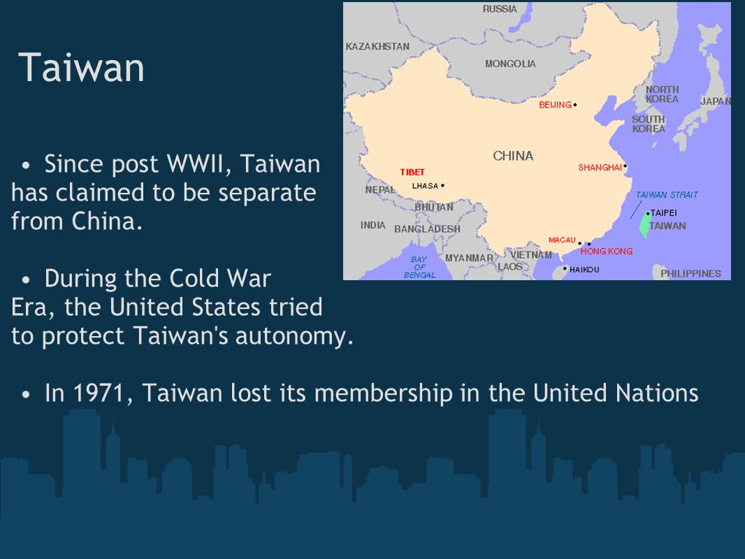Taiwan Since post WWII, Taiwan has claimed to be separate from China.