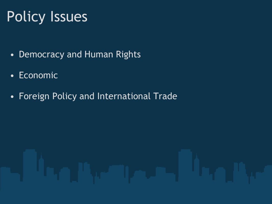 Policy Issues Democracy and Human Rights Economic
