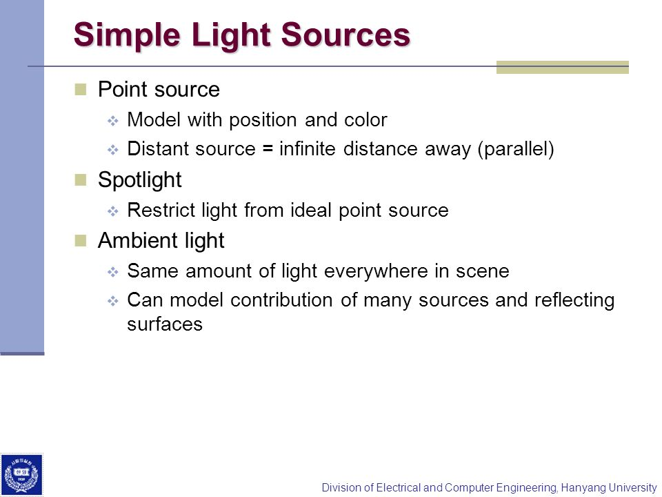 Simple Light Sources Point source Spotlight Ambient light