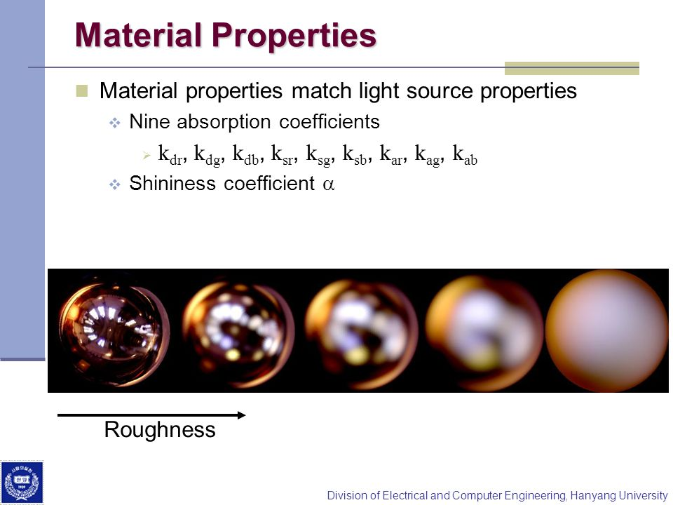 Material Properties Material properties match light source properties