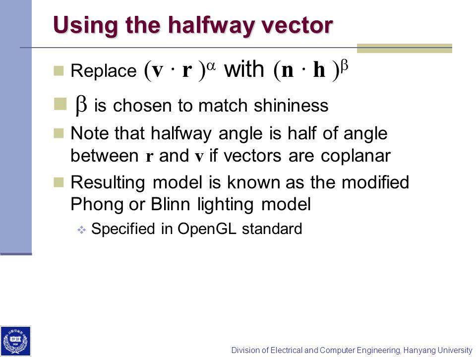 Using the halfway vector