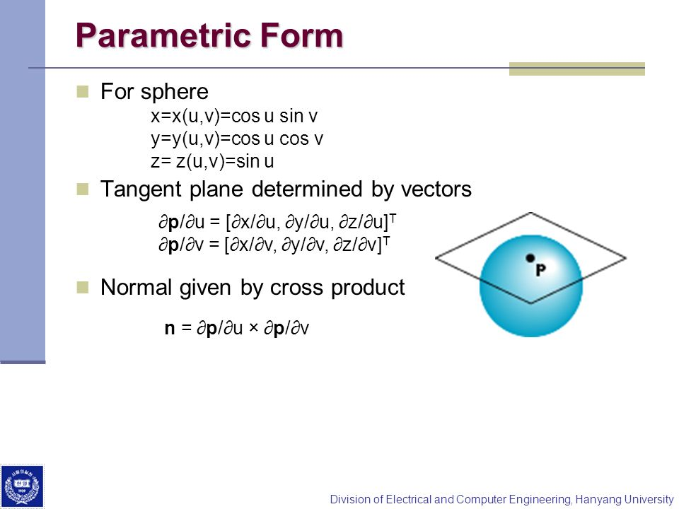 Parametric Form For sphere Tangent plane determined by vectors