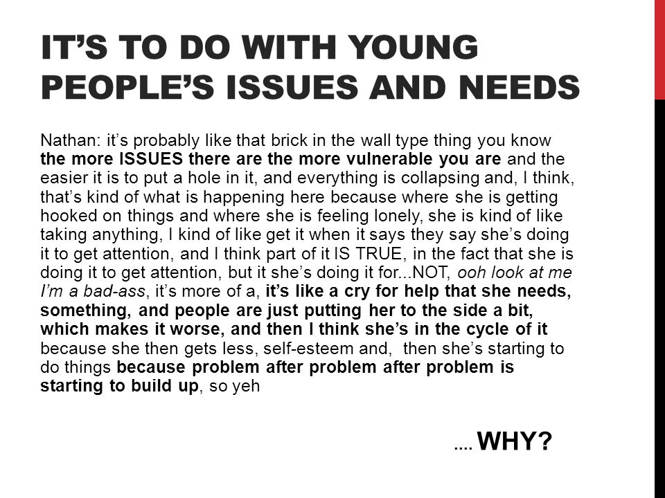 It's to do with young people's issues and needs