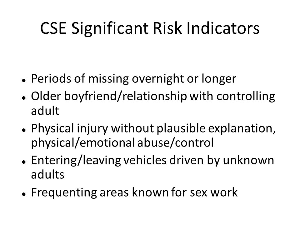 CSE Significant Risk Indicators