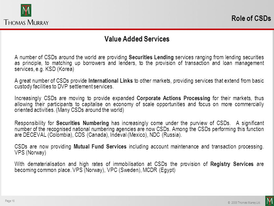 Role of CSDs Value Added Services