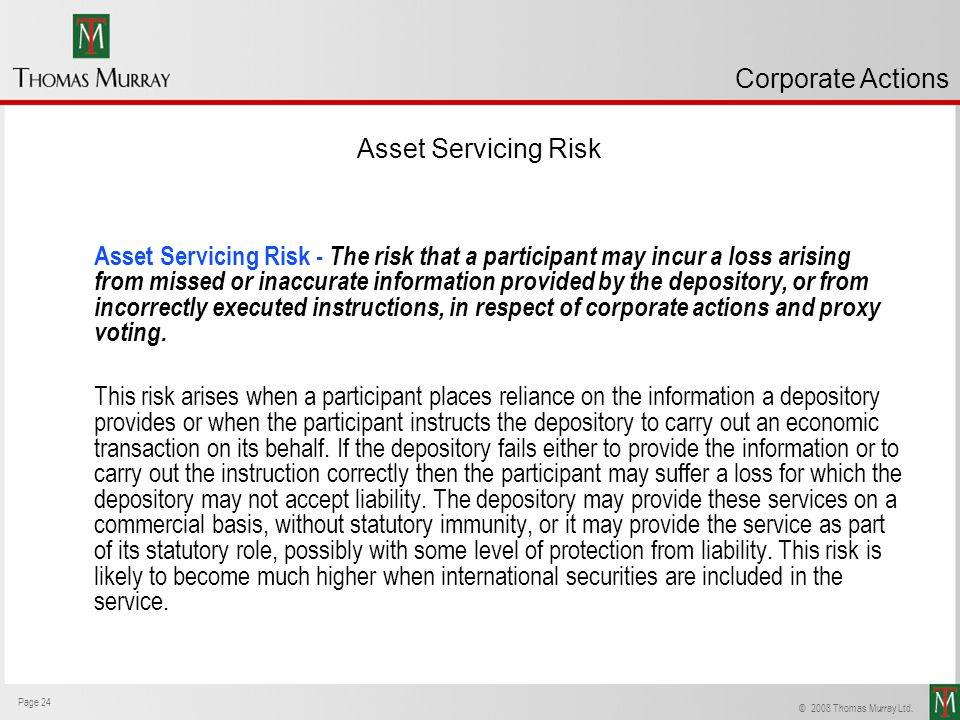 Corporate Actions Asset Servicing Risk.