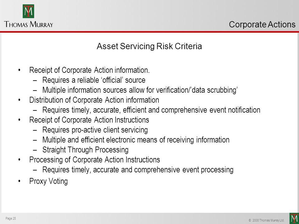 Asset Servicing Risk Criteria