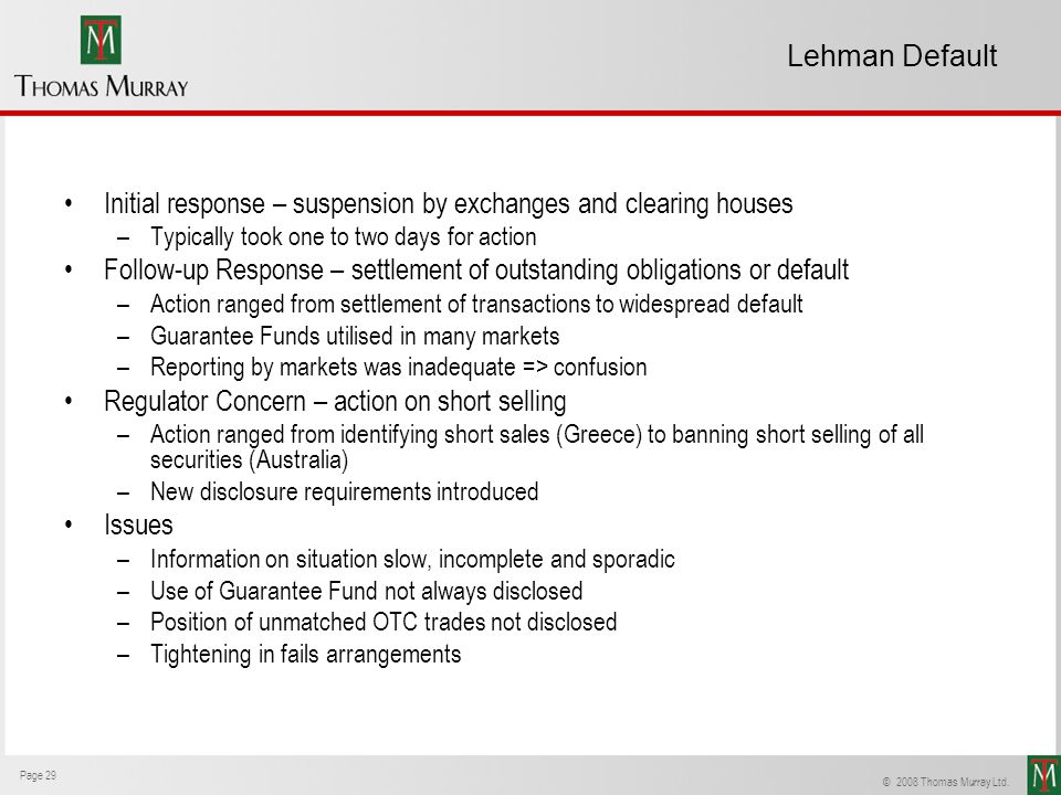 Initial response – suspension by exchanges and clearing houses