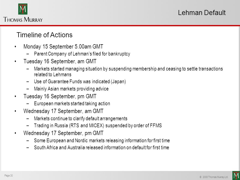 Lehman Default Timeline of Actions Monday 15 September 5.00am GMT