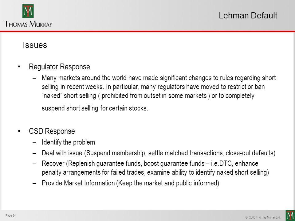 Lehman Default Issues Regulator Response CSD Response
