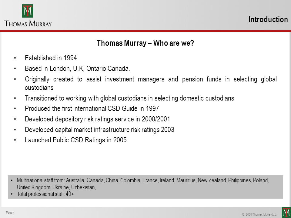Thomas Murray – Who are we