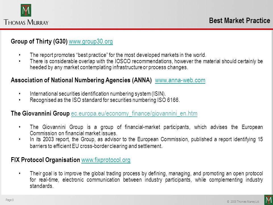 Best Market Practice Group of Thirty (G30) www.group30.org