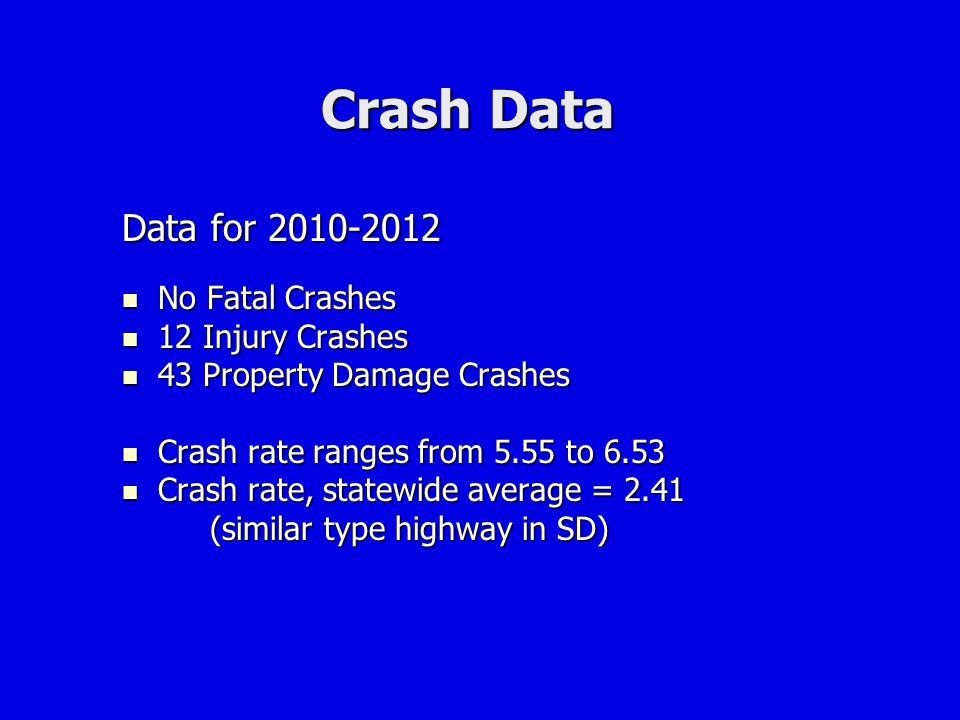 Crash Data Data for 2010-2012 No Fatal Crashes 12 Injury Crashes
