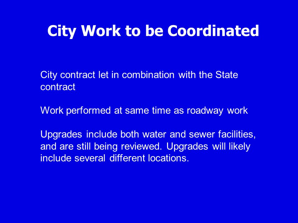 City Work to be Coordinated