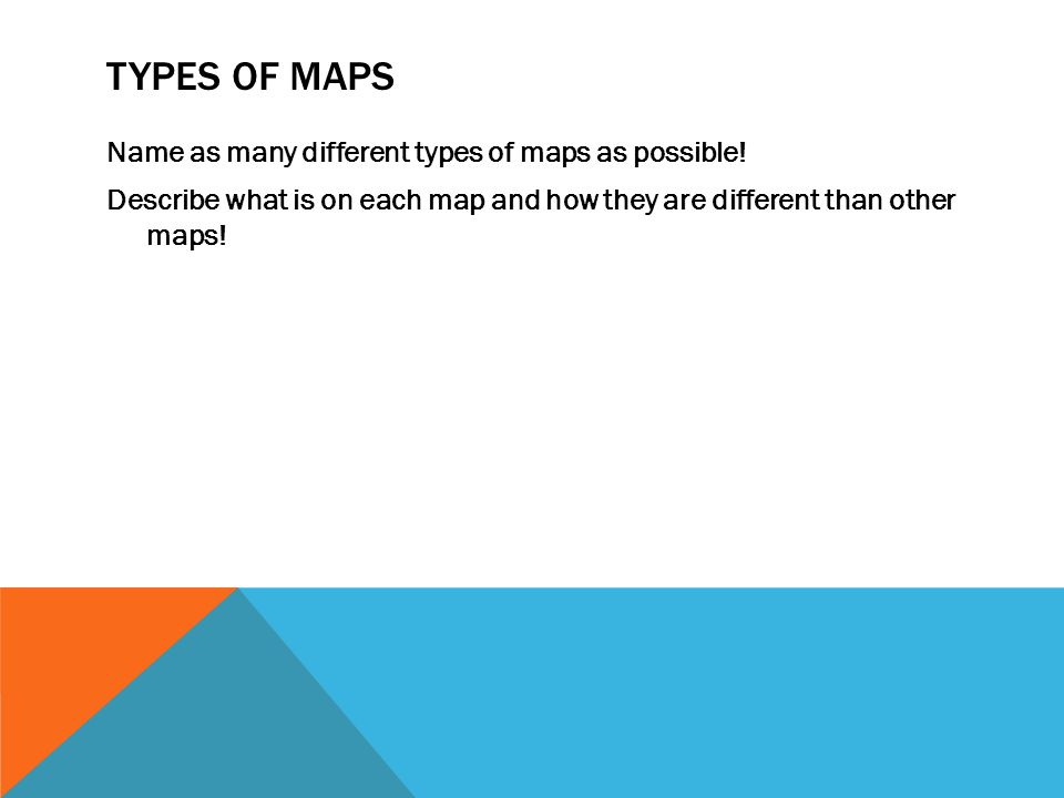 Types of maps Name as many different types of maps as possible.