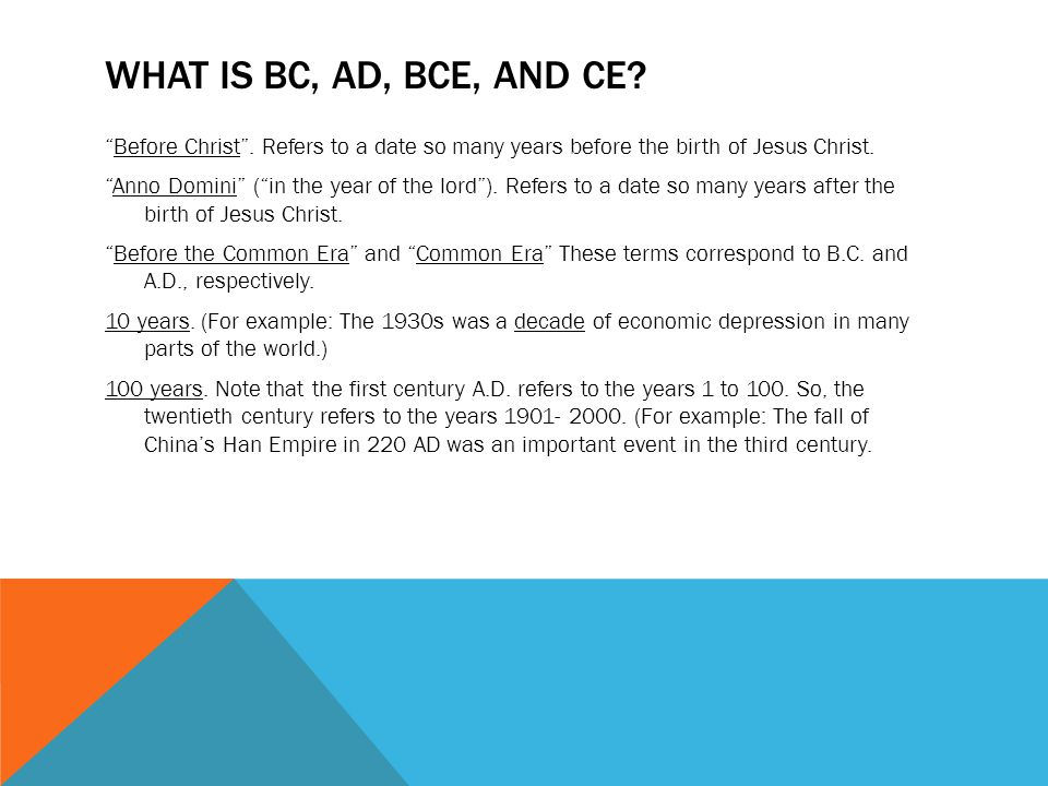 What is BC, AD, BCE, and CE