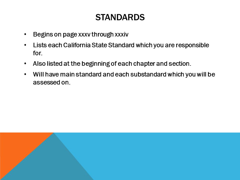 Standards Begins on page xxxv through xxxiv