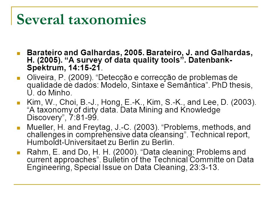 Several taxonomies