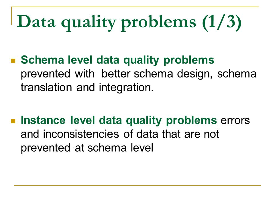 Data quality problems (1/3)