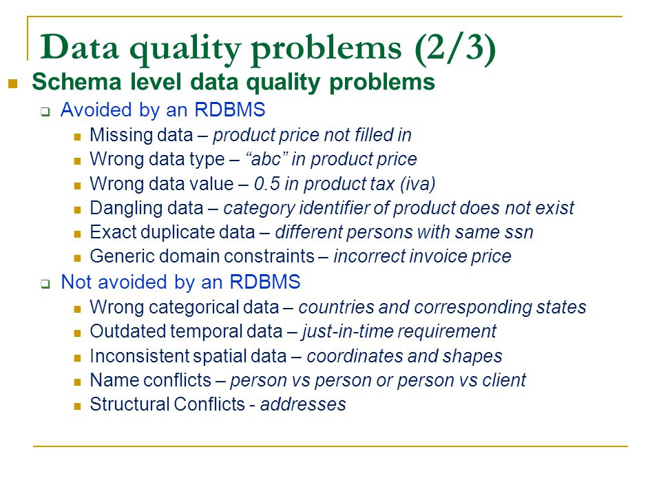 Data quality problems (2/3)