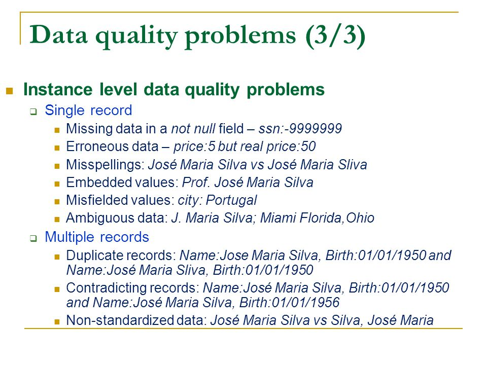 Data quality problems (3/3)