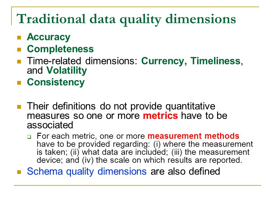 Traditional data quality dimensions