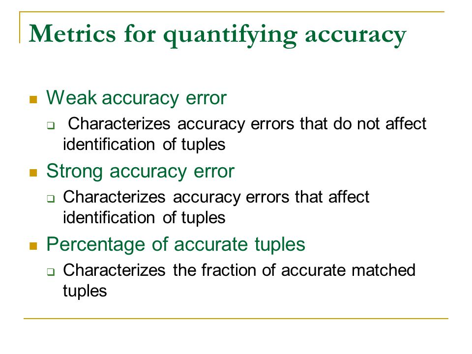 Metrics for quantifying accuracy