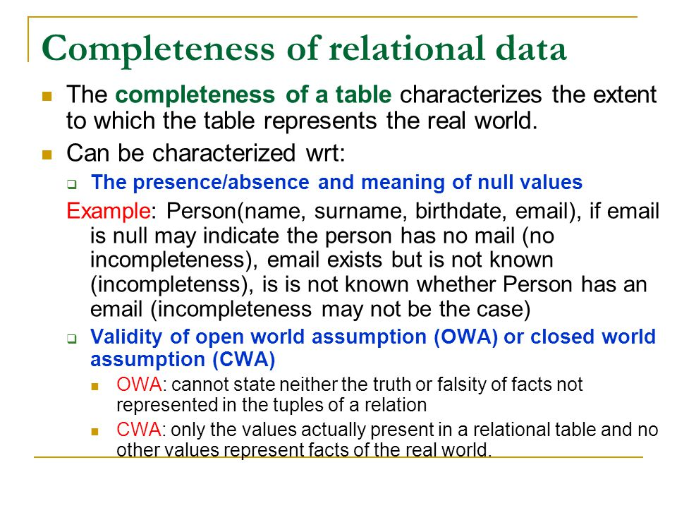 Completeness of relational data