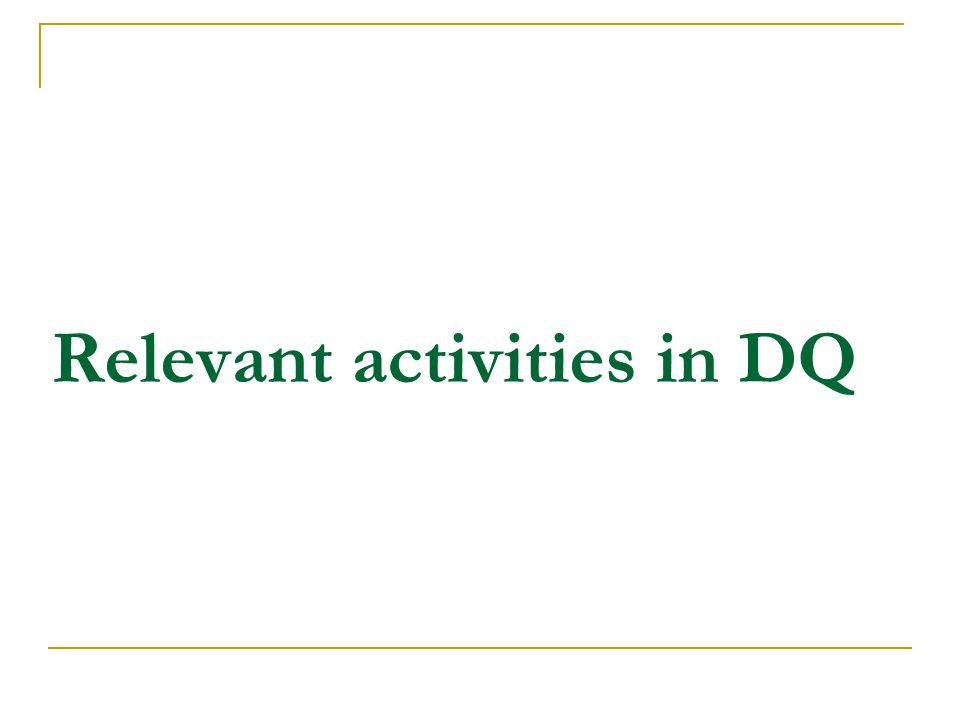 Relevant activities in DQ