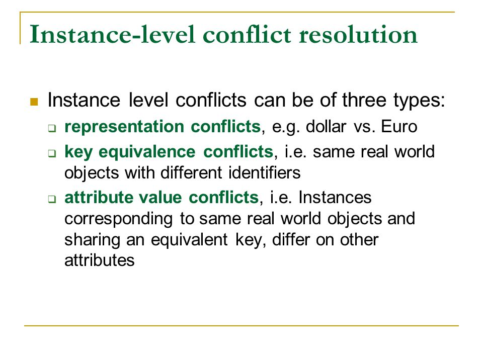 Instance-level conflict resolution