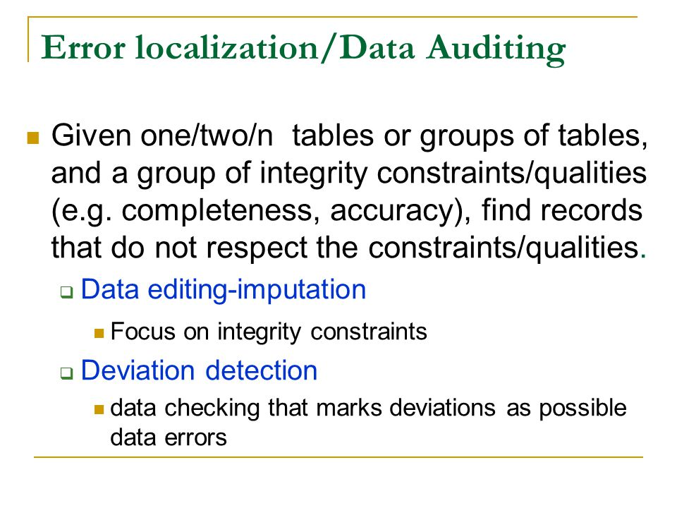 Error localization/Data Auditing