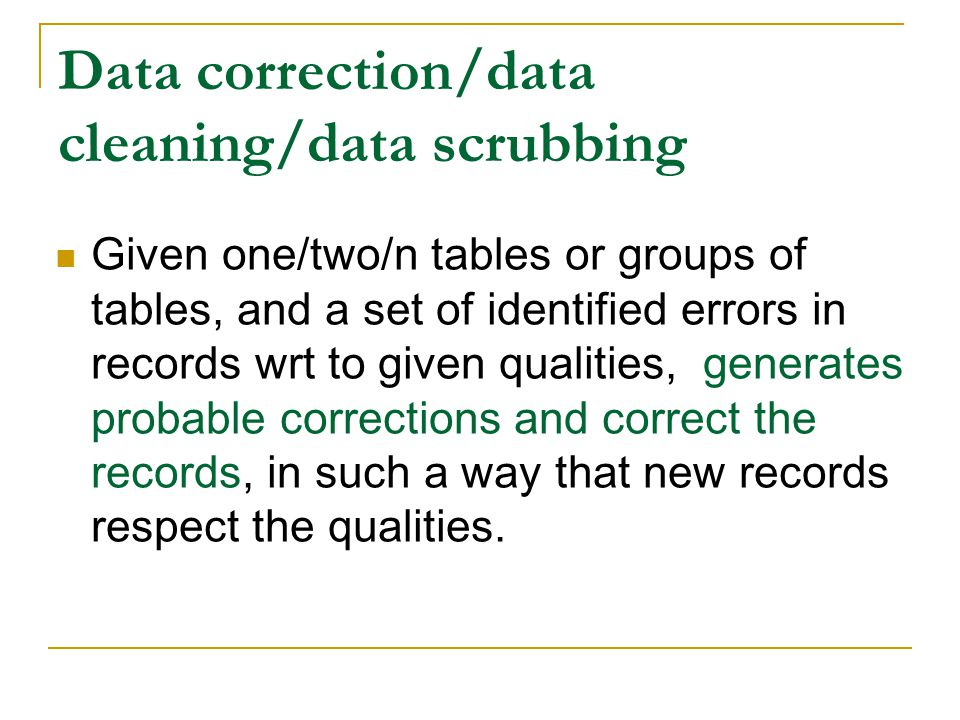 Data correction/data cleaning/data scrubbing