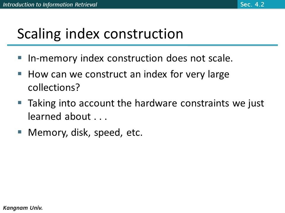 Scaling index construction