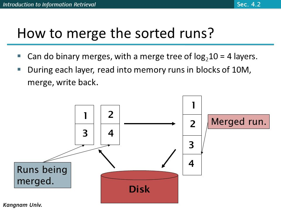 How to merge the sorted runs