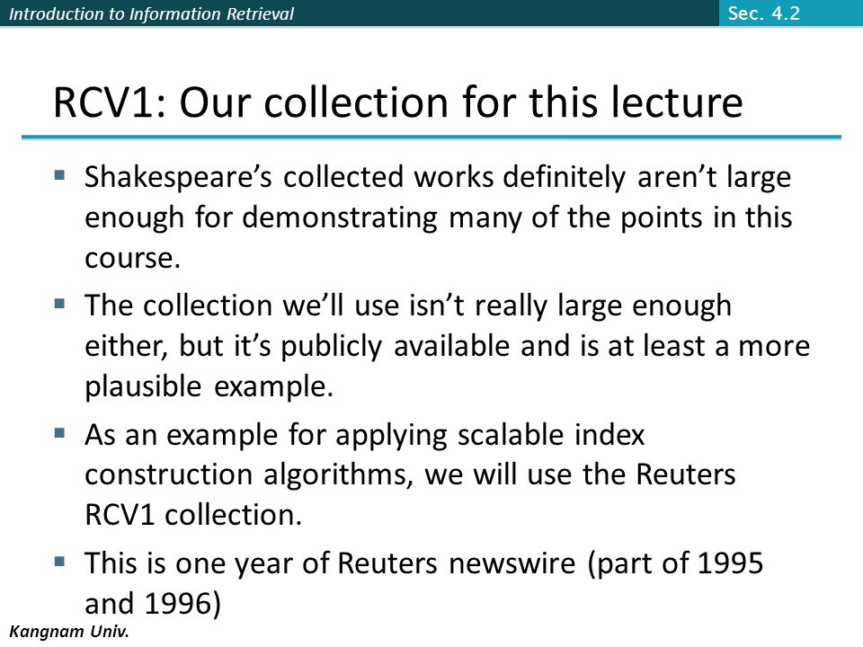 RCV1: Our collection for this lecture