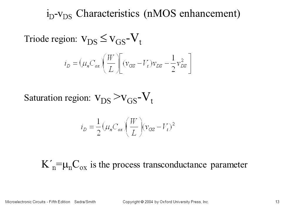 iD-vDS Characteristics (nMOS enhancement)