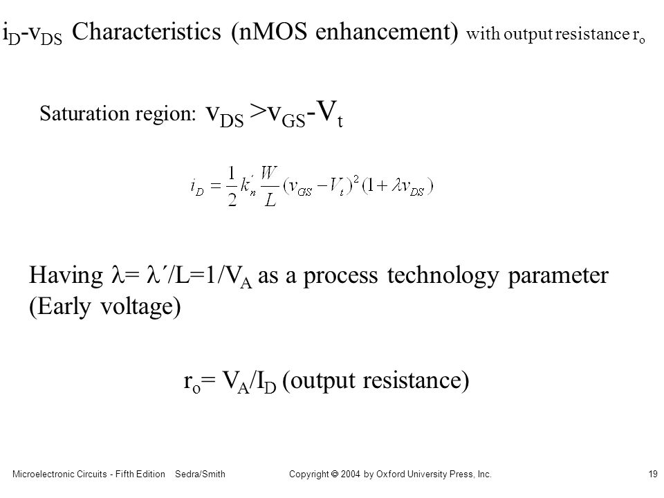 iD-vDS Characteristics (nMOS enhancement) with output resistance ro