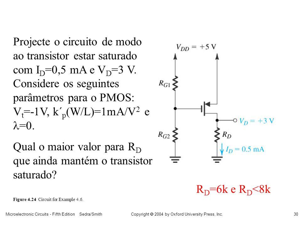 Qual o maior valor para RD que ainda mantém o transistor saturado