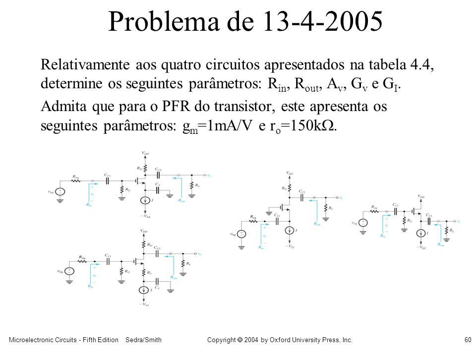 Problema de 13-4-2005 Relativamente aos quatro circuitos apresentados na tabela 4.4, determine os seguintes parâmetros: Rin, Rout, Av, Gv e GI.