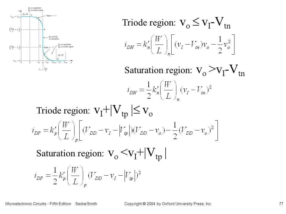 Triode region: vo  vI-Vtn