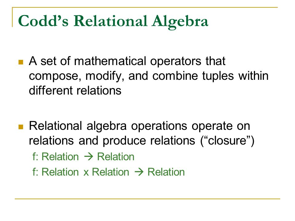 Codd's Relational Algebra