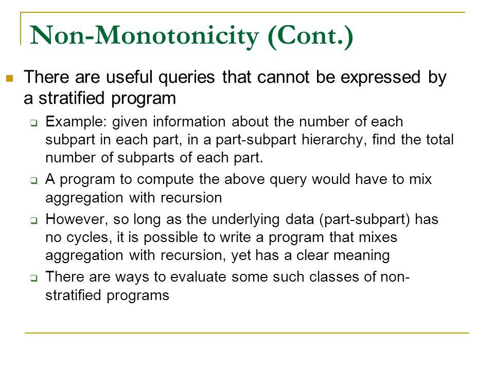 Non-Monotonicity (Cont.)