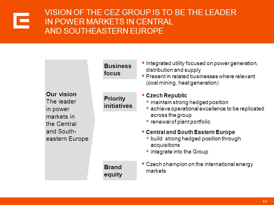 PRG-ZPD008-20041008-11373P1C VISION OF THE CEZ GROUP IS TO BE THE LEADER IN POWER MARKETS IN CENTRAL AND SOUTHEASTERN EUROPE.