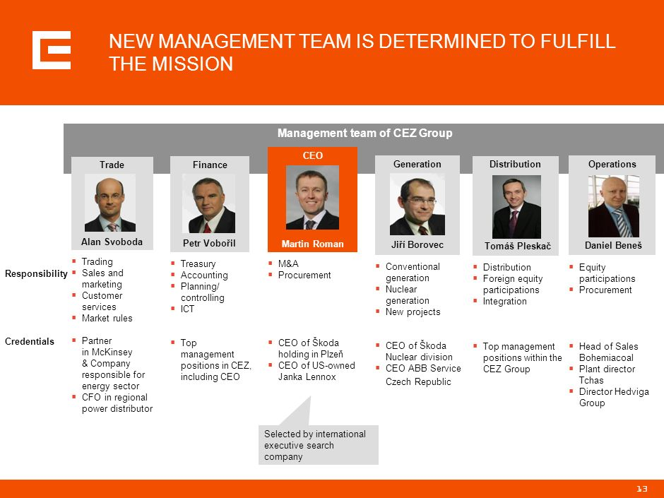 NEW MANAGEMENT TEAM IS DETERMINED TO FULFILL THE MISSION