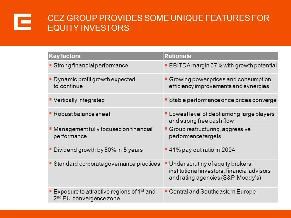 CEZ GROUP PROVIDES SOME UNIQUE FEATURES FOR EQUITY INVESTORS